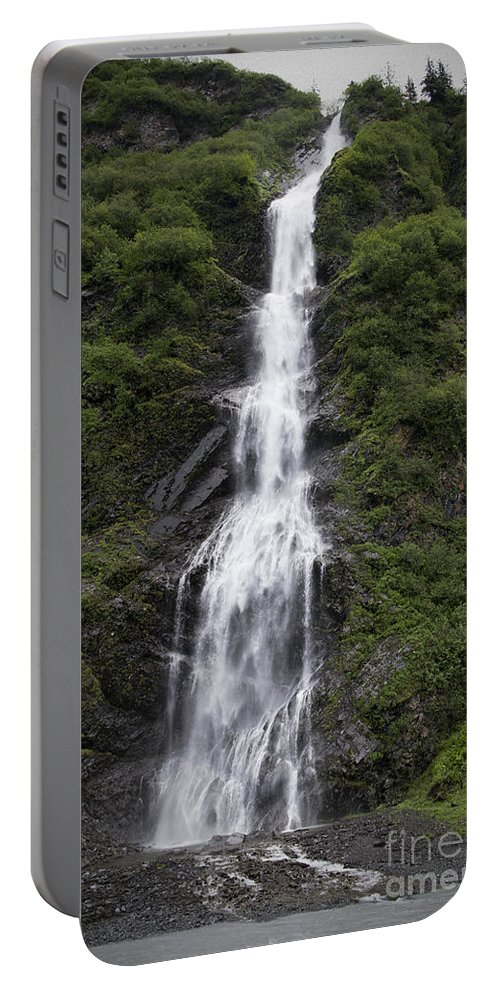 Waterfall Portable Battery Charger featuring the photograph Waterfall Near Valdez Ak by David Arment
