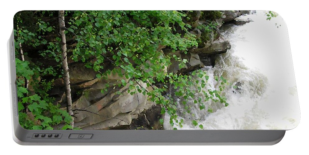 Cheremosh River Waterfall Stream Portable Battery Charger featuring the photograph Waterfall by Oleg Zavarzin