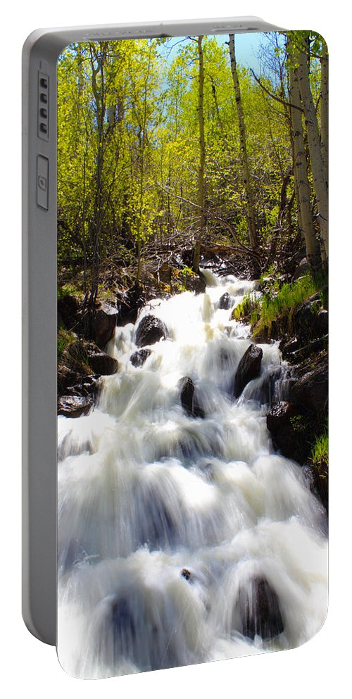 Waterfall Portable Battery Charger featuring the photograph Waterfall Through The Aspens by Shane Bechler