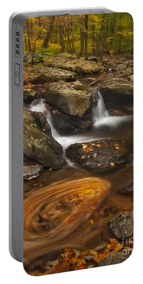 Autumn Portable Battery Charger featuring the photograph Waterfalls And Swirl by Susan Candelario