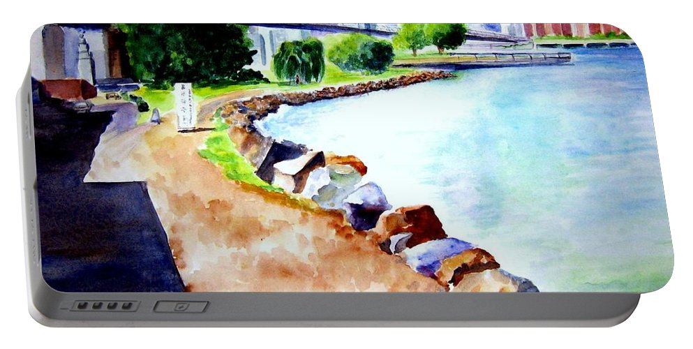 Dumbo Portable Battery Charger featuring the painting Waterfront In Dumbo by Sandy Ryan