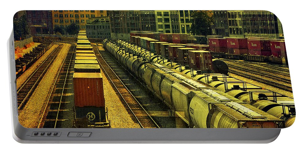 Railway Portable Battery Charger featuring the photograph Waterfront Rail Yard by Claude LeTien