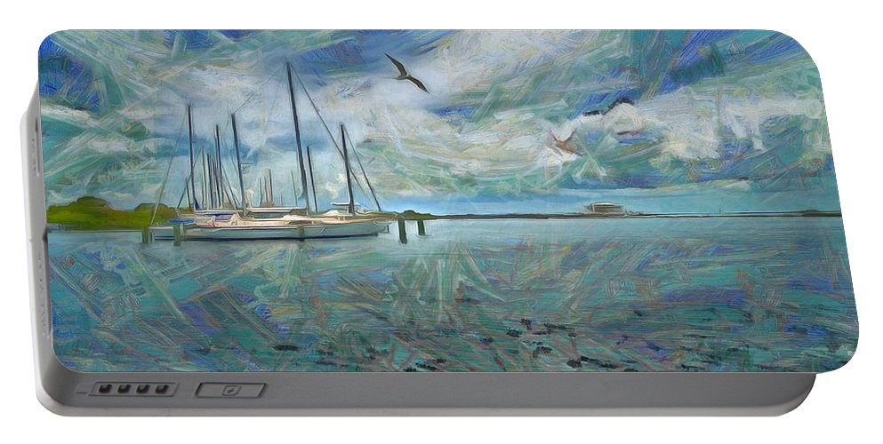 Waterfront View Portable Battery Charger featuring the painting Waterfront View by L Wright