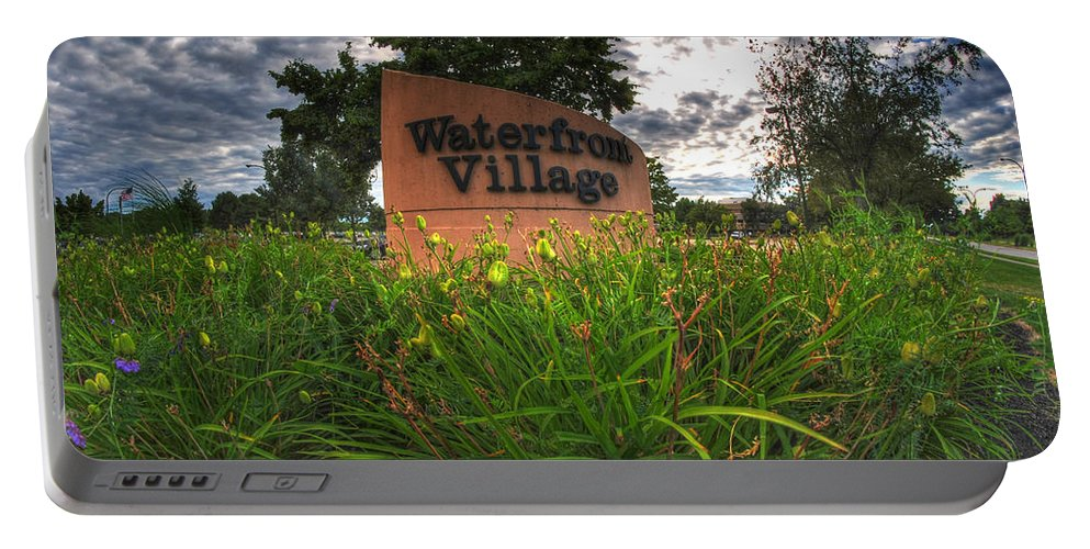 Waterfront Village Portable Battery Charger featuring the photograph Waterfront Village by Michael Frank Jr