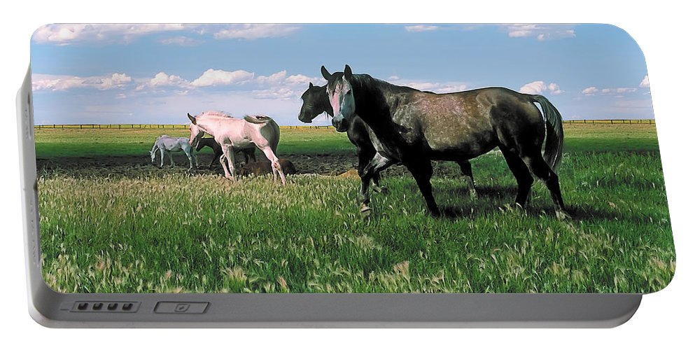 Scenic Portable Battery Charger featuring the photograph Watering Hole 2 by Terry Reynoldson