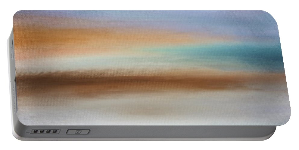 Seascapes Abstract Portable Battery Charger featuring the digital art Water's Edge by Lourry Legarde