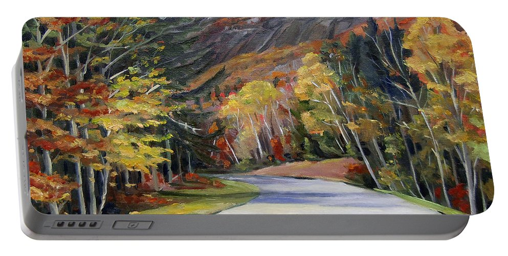 White Mountain Art Portable Battery Charger featuring the painting Waterville Road New Hampshire by Nancy Griswold