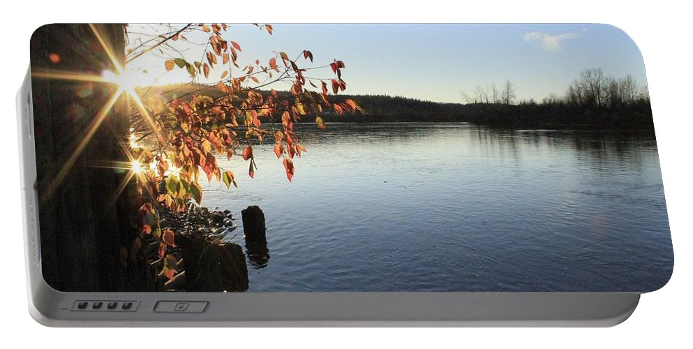 Sunset Portable Battery Charger featuring the photograph Waterways River View by Alanna DPhoto