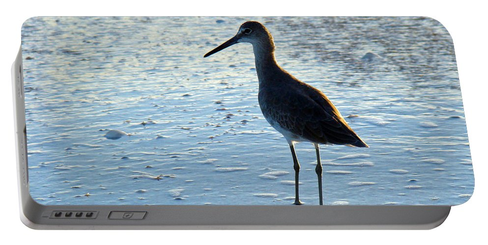 Willet Portable Battery Charger featuring the photograph Wave Watching by Nancy L Marshall