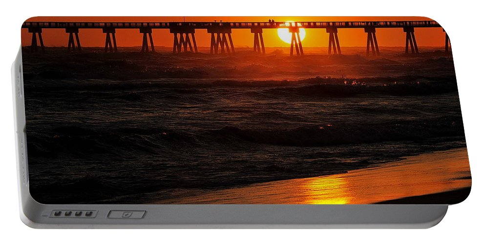 Florida Portable Battery Charger featuring the photograph Waves At Sunset by Ron Weathers