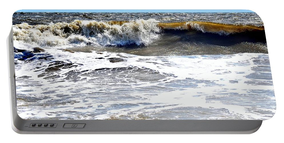 Tybee Island Portable Battery Charger featuring the photograph Waves At Tybee by Tara Potts