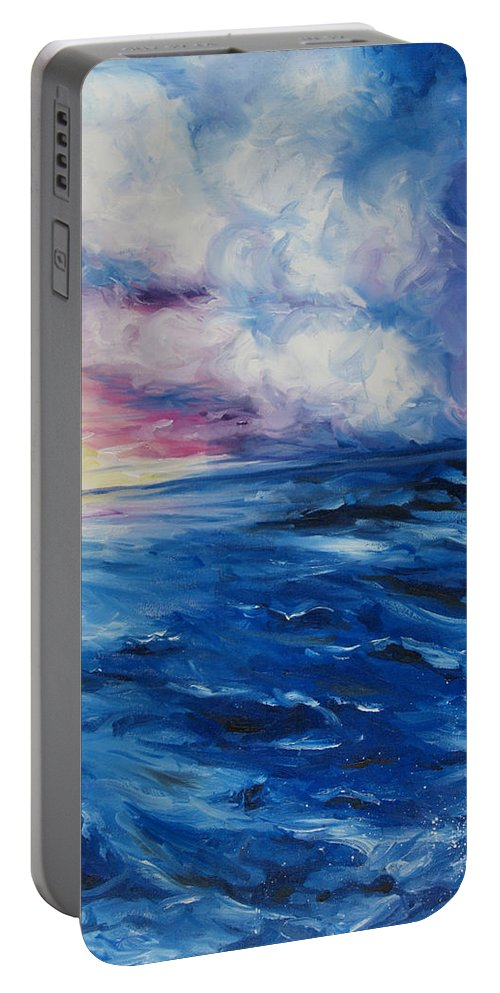 Ocean Waves Portable Battery Charger featuring the painting Waves by Christine Cobden