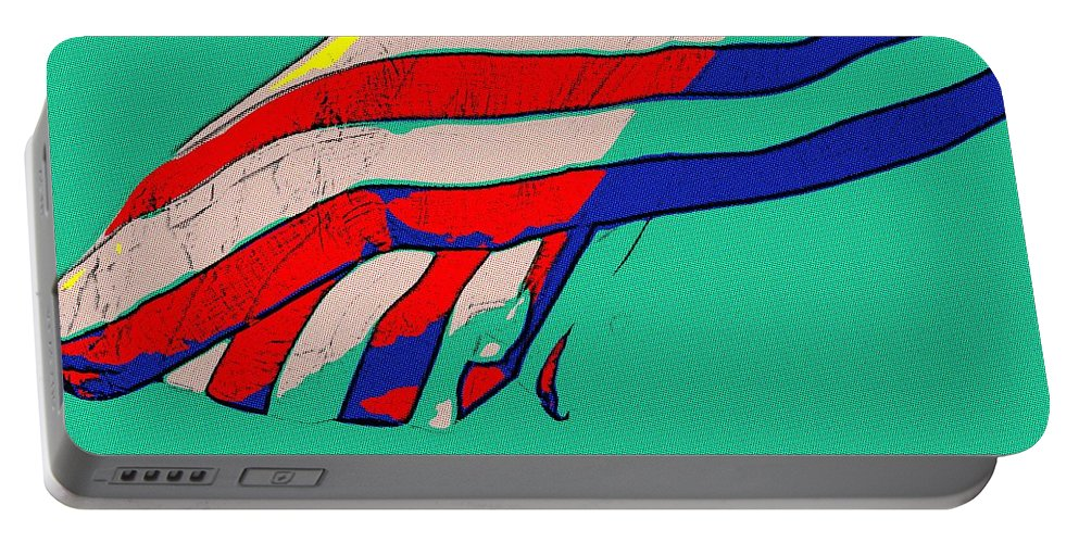 Flag Portable Battery Charger featuring the painting Waving Stripes by Florian Rodarte