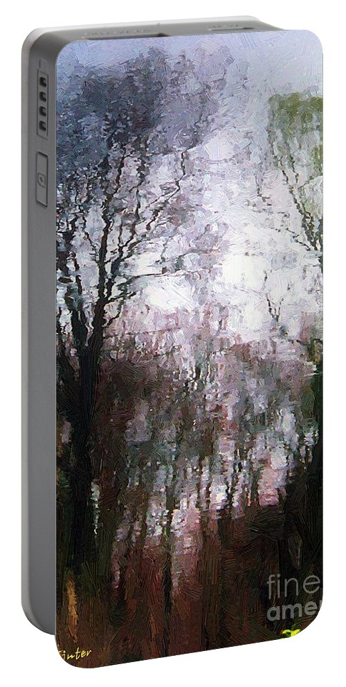 Connecticut Portable Battery Charger featuring the painting Wavy Willows by RC DeWinter