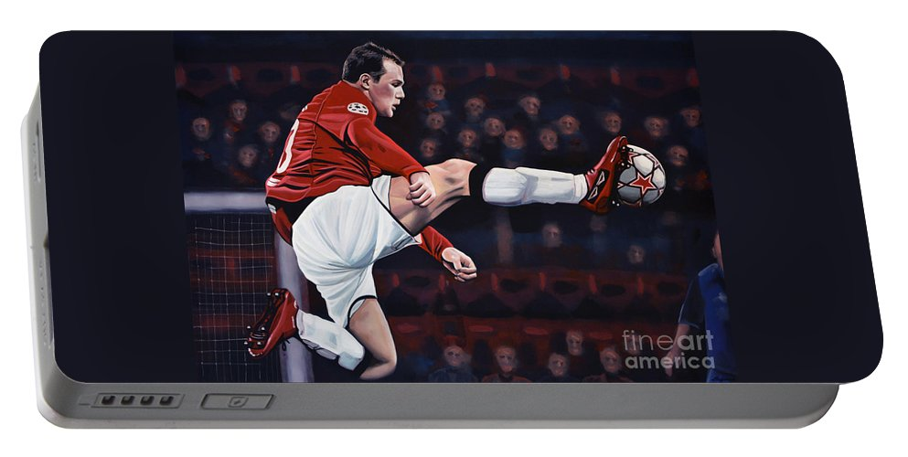 Wayne Rooney Portable Battery Charger featuring the painting Wayne Rooney by Paul Meijering