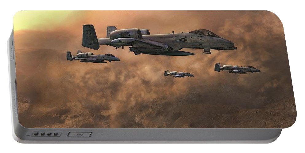 A-10 Warthog Portable Battery Charger featuring the painting Waypoint Alpha by Dave Luebbert