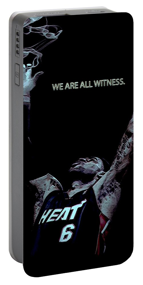 Lebron James Portable Battery Charger featuring the digital art We Are All Witness by Brian Reaves