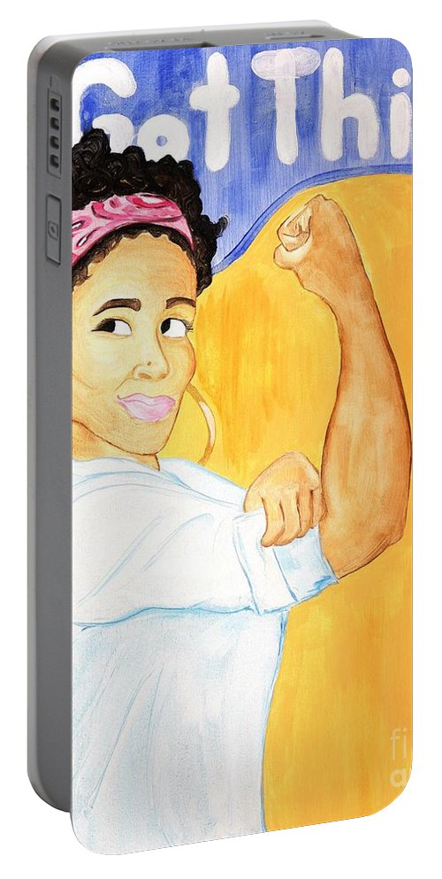 Aliya Michelle Portable Battery Charger featuring the painting We Got This by Aliya Michelle