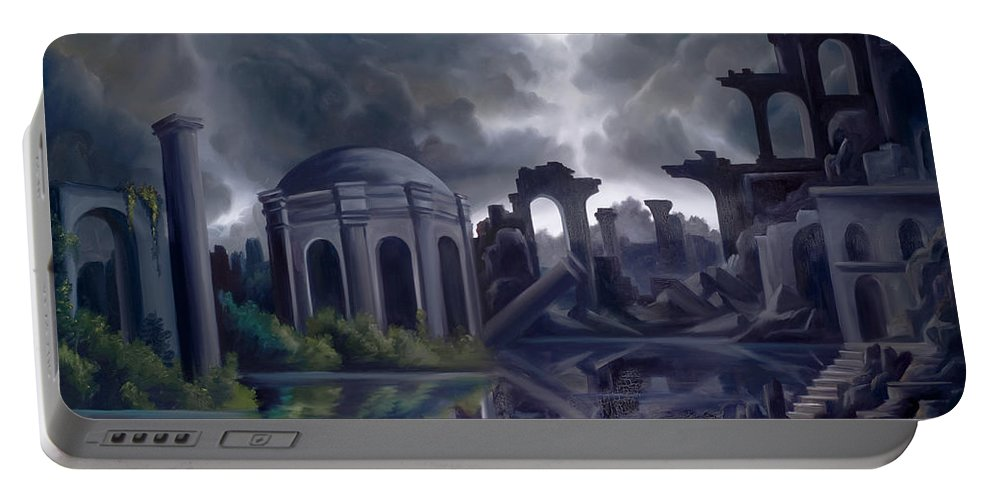 Ruins Portable Battery Charger featuring the painting We Lost Our Empire A Long Time Ago by James Christopher Hill