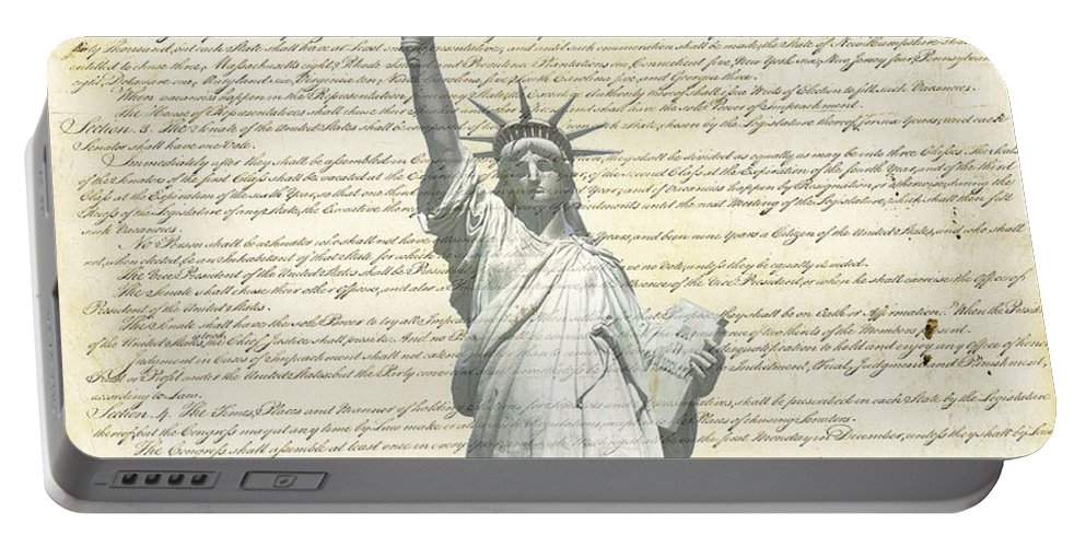 Statue+of+liberty Portable Battery Charger featuring the photograph We The People by Charles Beeler