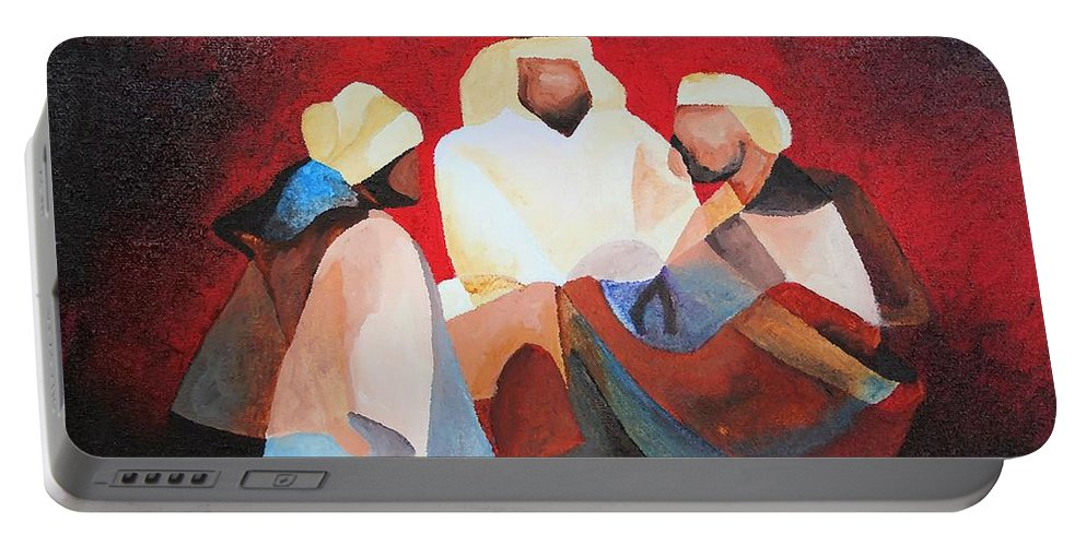 Portable Battery Charger featuring the painting We Three Kings by Taiche Acrylic Art