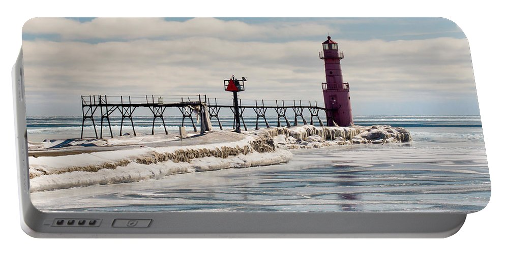 Lighthouse Portable Battery Charger featuring the photograph Weathered by Bill Pevlor