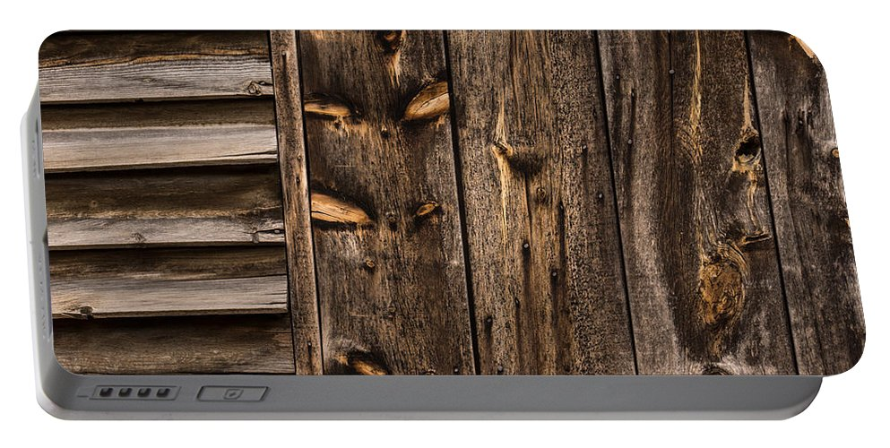 Abstract Portable Battery Charger featuring the photograph Weathered Wooden Abstracts - 3 by Georgia Mizuleva