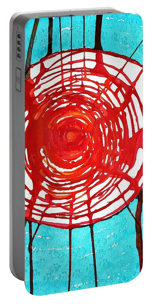 Web Of Life Portable Battery Charger featuring the painting Web Of Life Original Painting by Sol Luckman