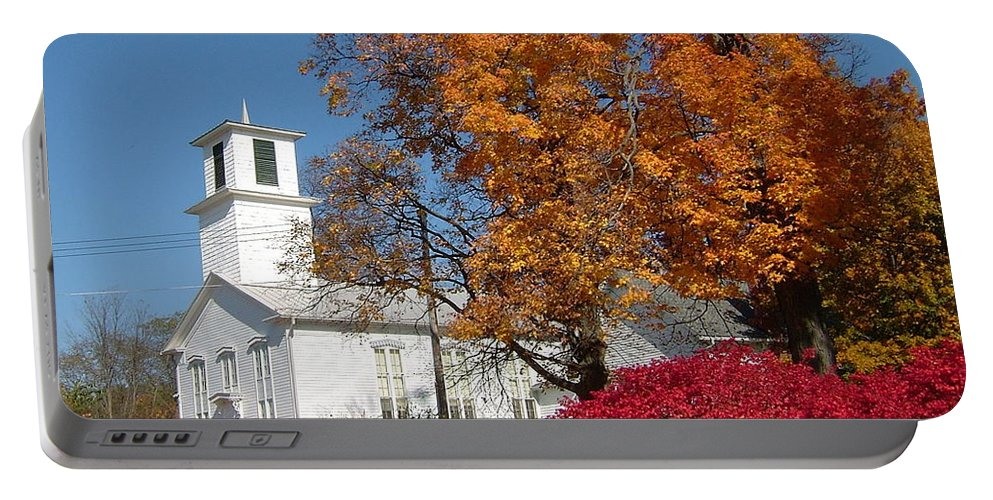 Webster Church Portable Battery Charger featuring the photograph Webster Church On A Fall Day by Susan Wyman