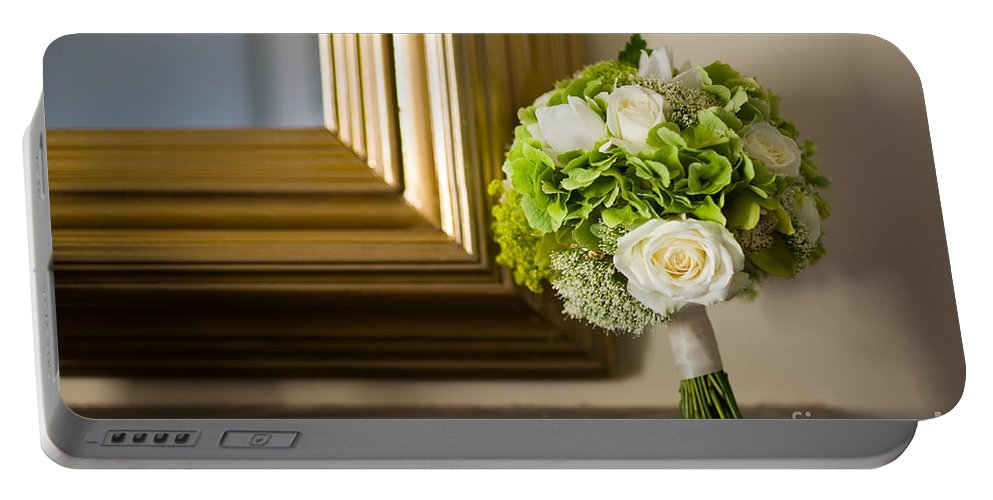 Beautiful Portable Battery Charger featuring the photograph Wedding Bouquet And Mirror by Lee Avison