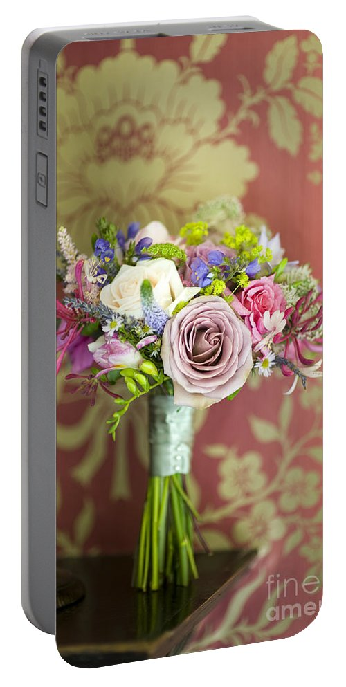 Beautiful Portable Battery Charger featuring the photograph Wedding Bouquet And Vintage Wallpaper by Lee Avison