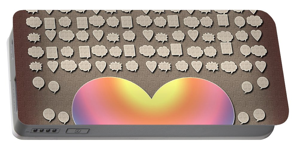 Wedding Hearts Guest Book Portable Battery Charger featuring the painting Wedding Guest Signature Book Heart Bubble Speech Shapes by Georgeta Blanaru