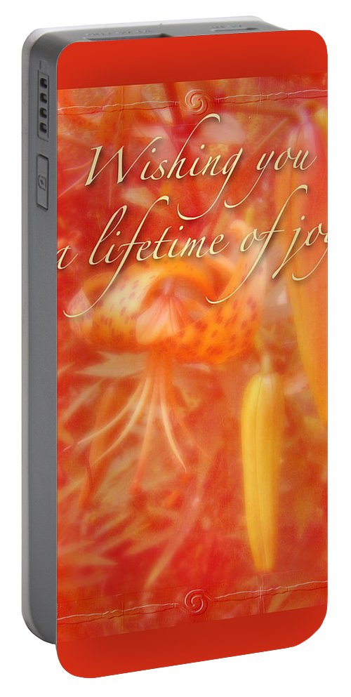 Wedding Portable Battery Charger featuring the photograph Wedding Joy Greeting Card - Turks Cap Lilies by Mother Nature