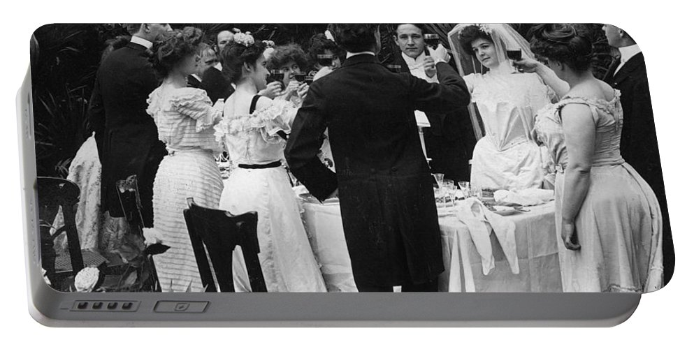 1904 Portable Battery Charger featuring the photograph Wedding Party, 1904 by Granger