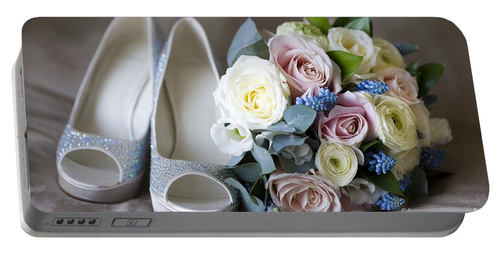 Bouquet Portable Battery Charger featuring the photograph Wedding Shoes And Flowers by Lee Avison