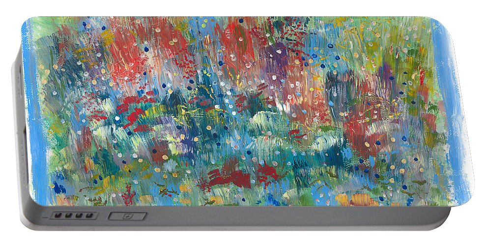 Contemporary Portable Battery Charger featuring the painting Weeds by Bjorn Sjogren