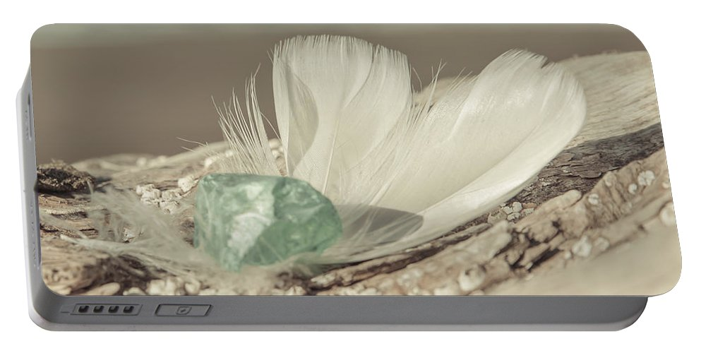 Sea Glass Feathers Photography Print Portable Battery Charger featuring the photograph Weighted Feathers by Lucid Mood