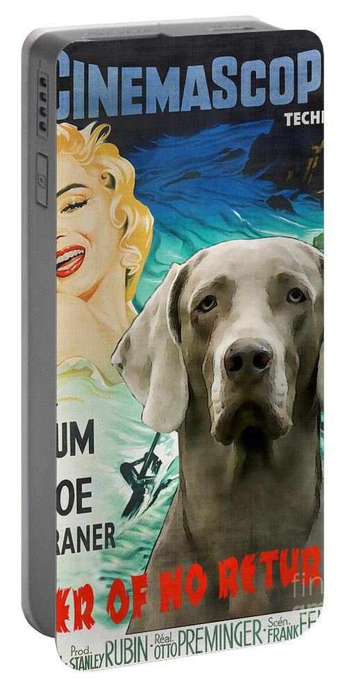 Weimaraner Portable Battery Charger featuring the painting Weimaraner Art Canvas Print - River Of No Return Movie Poster by Sandra Sij