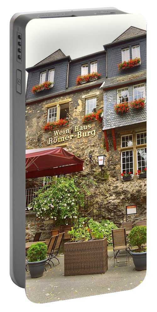 Weinhaus Portable Battery Charger featuring the photograph Weinhaus Restaurant Bachrach Germany by Linda Covino