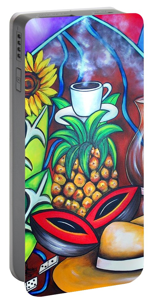 Cuban Paintings Portable Battery Charger featuring the painting Welcome To Here And Now by Annie Maxwell