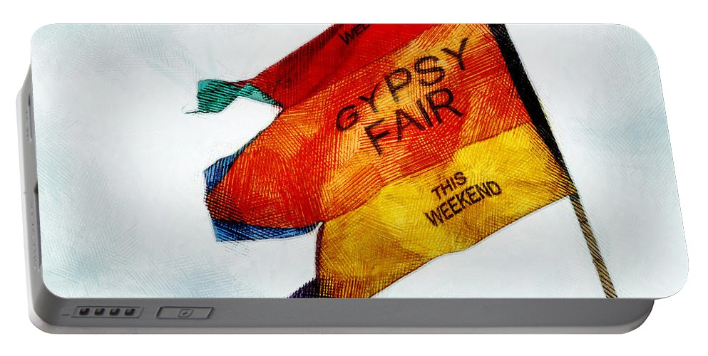Flag Portable Battery Charger featuring the photograph Welcome To The Gypsy Fair by Steve Taylor
