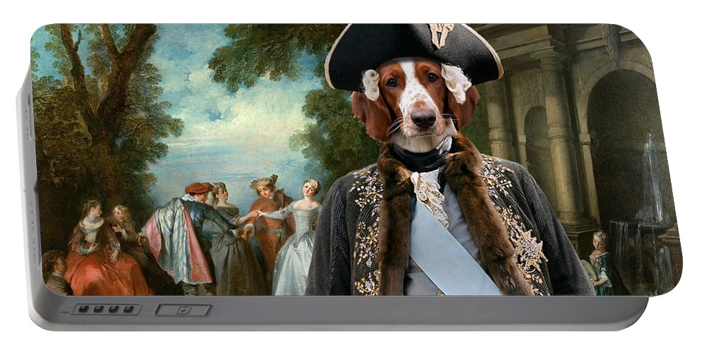 Welsh Springer Spaniel Portable Battery Charger featuring the painting Welsh Springer Spaniel Art Canvas Print by Sandra Sij