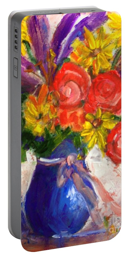 Floral Portable Battery Charger featuring the painting Wendy's Floral by Sherry Harradence