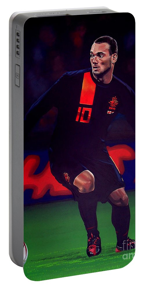 Wesley Sneijder Portable Battery Charger featuring the painting Wesley Sneijder by Paul Meijering