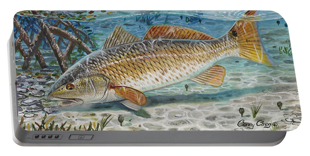 Redfish Portable Battery Charger featuring the painting West Coast Red by Carey Chen