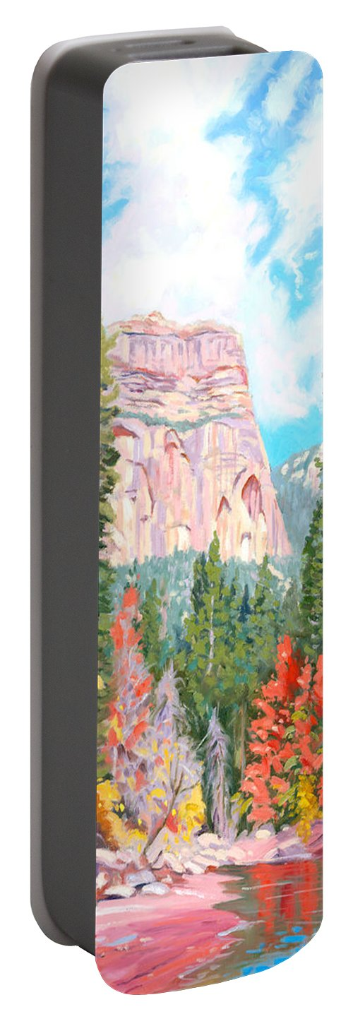 Sedona Portable Battery Charger featuring the painting West Fork - Sedona by Steve Simon
