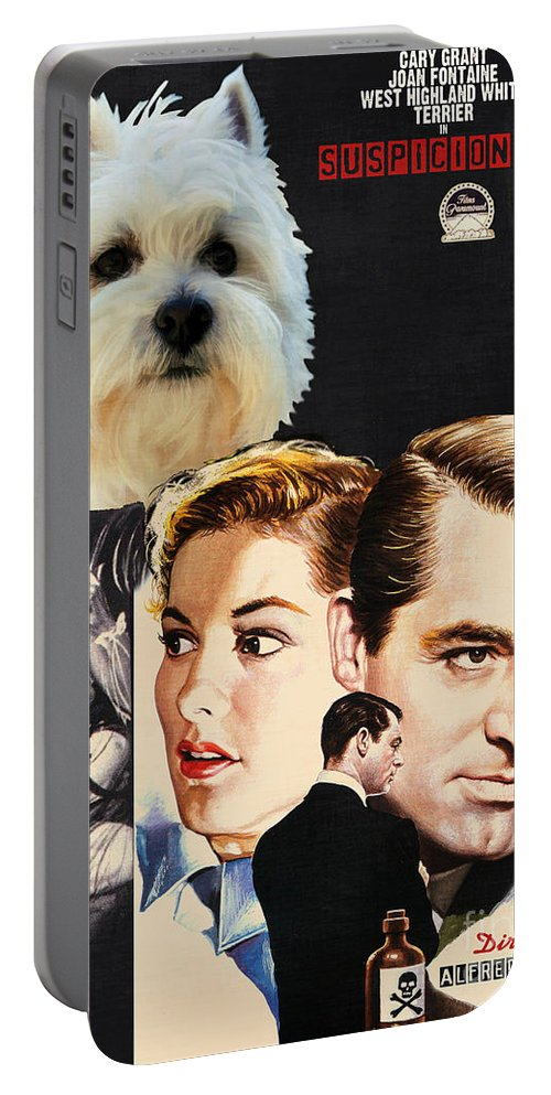 Westie Portable Battery Charger featuring the painting West Highland White Terrier Art Canvas Print - Suspicion Movie Poster by Sandra Sij