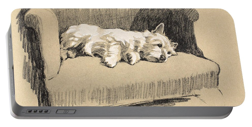 Dog Portable Battery Charger featuring the drawing West Highlander, 1930 by Cecil Charles Windsor Aldin