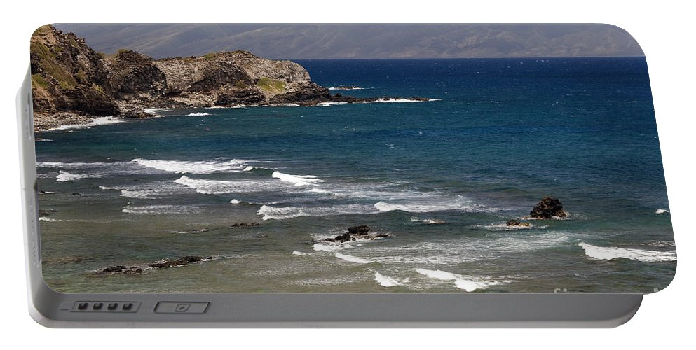 West Maui Hawaii Pacific Ocean Ocean Sea Seas Water Rock Rocks Wave Waves Waterscape Waterscapes Landscapes Landscape Seascape Seascapes Beach Beaches Mountain Mountains Portable Battery Charger featuring the photograph West Maui Beach by Bob Phillips