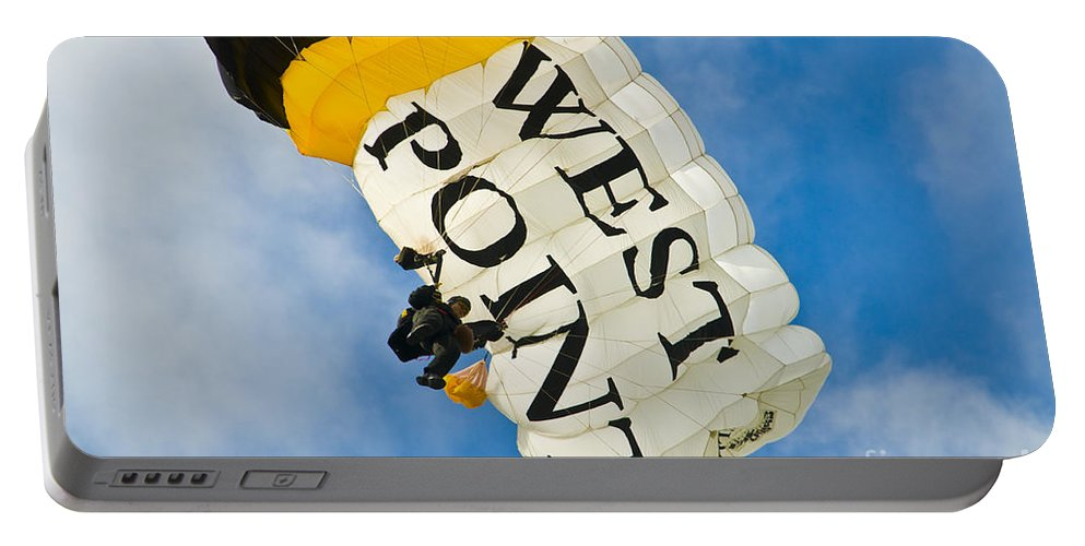 wet Point Portable Battery Charger featuring the photograph West Point Sky Diver by Anthony Sacco